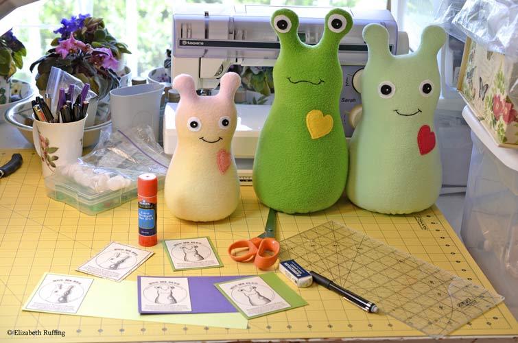 Hug Me Bugs and Hug Me Slug with hang tags by Elizabeth Ruffing
