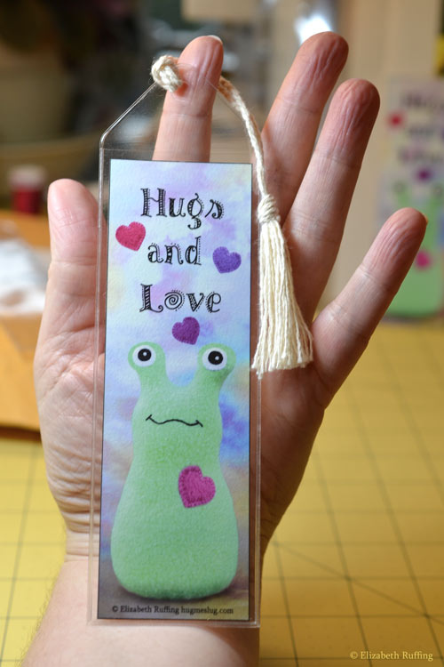 Hug Me Slug Hugs and Love bookmark by Elizabeth Ruffing