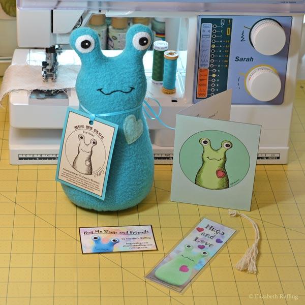 Hug Me Slug Hugs and Love bookmark with turquoise slug by Elizabeth Ruffing
