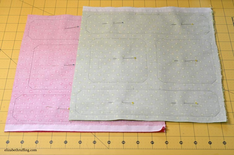Free Catnip toy patterns drawn on fabric and pinned, showing sewing lines, by Elizabeth Ruffing