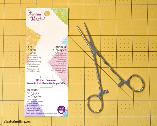 Sewing Basket 5 1/2 inch Needle Grabber Hemostats for turning fabric right side out, by Elizabeth Ruffing