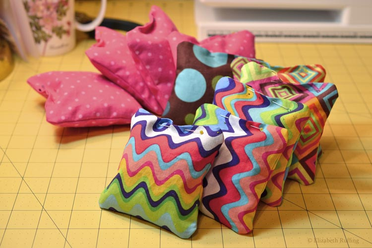 Catnip squares pinned closed, diy catnip toy tutorial by Elizabeth Ruffing