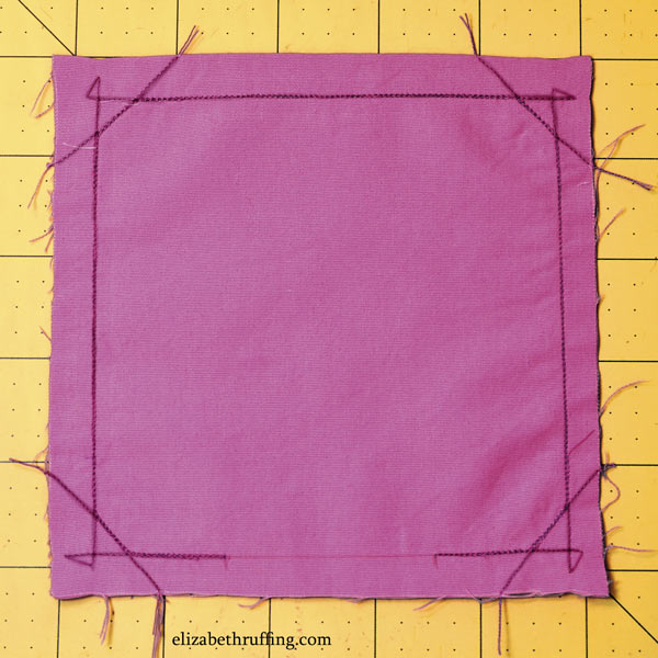 Sewn lines shown on a catnip square, by Elizabeth Ruffing