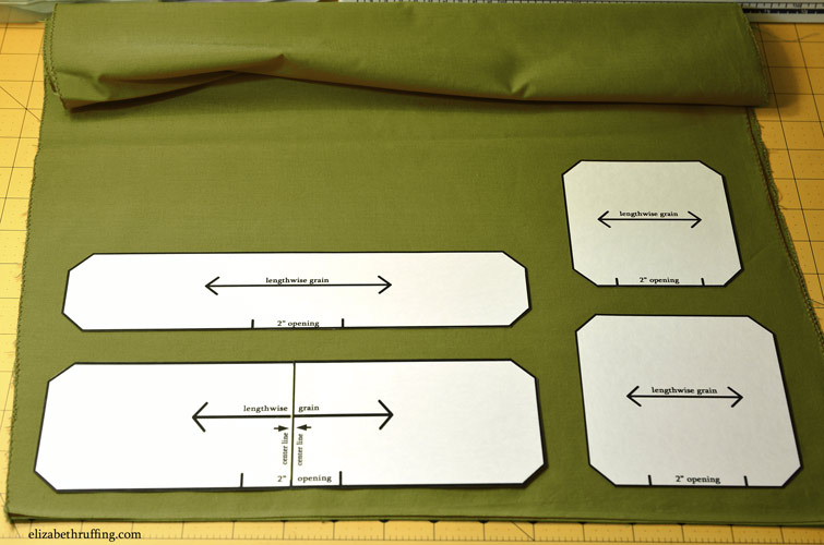 Catnip toy templates laid out on fabric, free catnip toy pattern by Elizabeth Ruffing