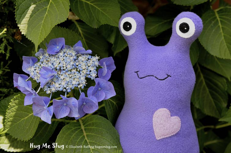 Slugterra and purple fleece Hug Me Slug, original stuffed animal art toy by Elizabeth Ruffing