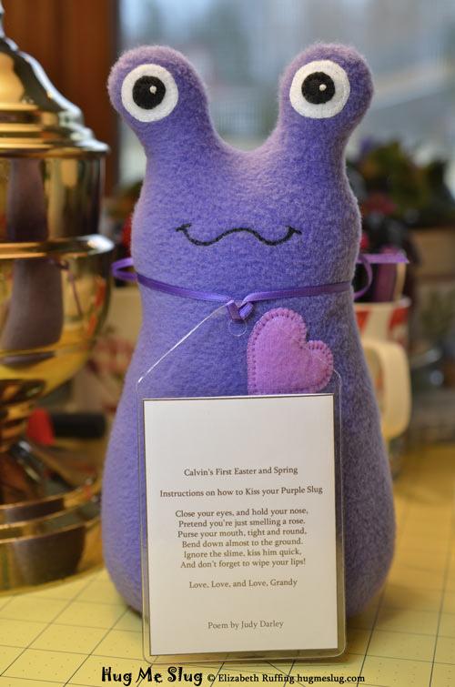 Purple Fleece Hug Me Slug, original stuffed animal art toys by Elizabeth Ruffing