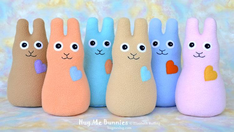 Pastel Fleece Hug Me Bunnies, original art toys by Elizabeth Ruffing