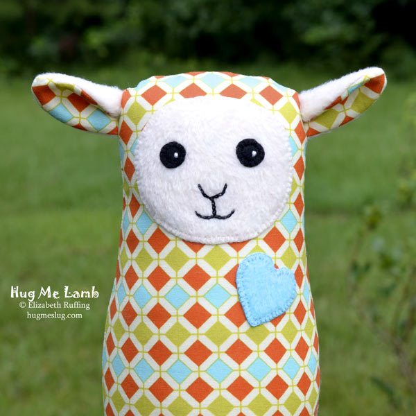 Stuffed Animal Art Toys, Hug Me Lamb by Elizabeth Ruffing, with a diamond patterned body