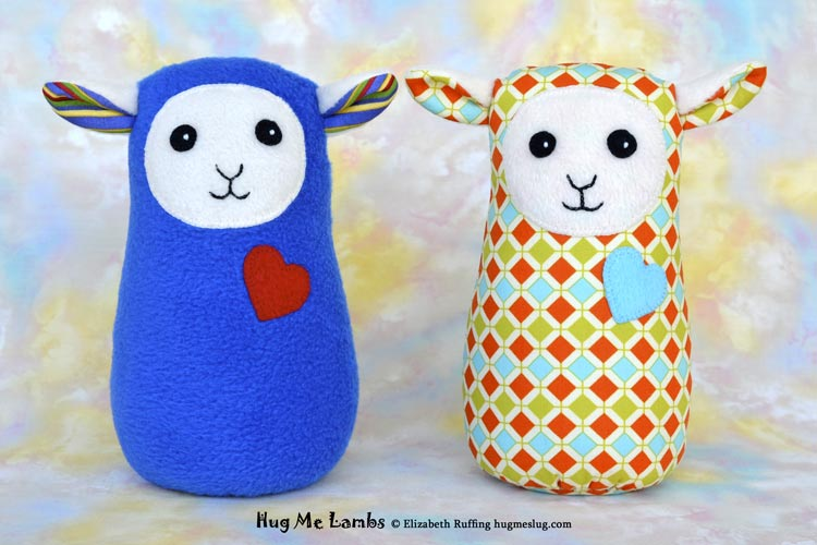 Stuffed Animal Art Toys, Hug Me Lamb by Elizabeth Ruffing, royal blue and diamond patterned