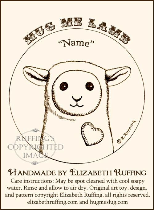 Hang Tag for my Stuffed Animal Art Toys, Hug Me Lambs by Elizabeth Ruffing