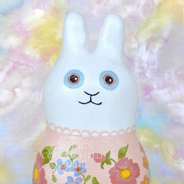 Jenna Jingles, original, one-of-a-kind miniature handmade white bunny rabbit art doll figurine by artist Elizabeth Ruffing