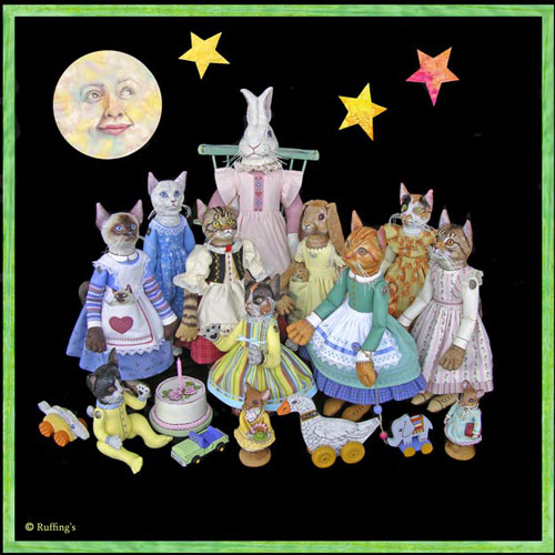 Ruffing's Cat Art Dolls and Hug Me Slug Stuffed Animal Art