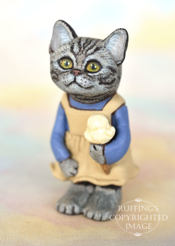 Jodie, miniature American Shorthair cat art doll, handmade original, one-of-a-kind kitten by artist Max Bailey
