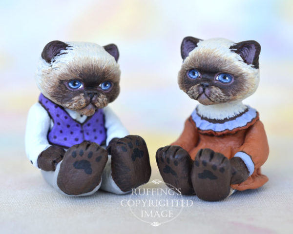 Kendra and Mikey, miniature Himalayan cat art dolls, handmade original, one-of-a-kind kittens by artist Max Bailey