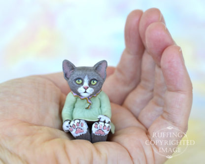 Louellen, gray-and-white orignal, one-of-a-kind handmade miniature cat doll figurine by Max Bailey