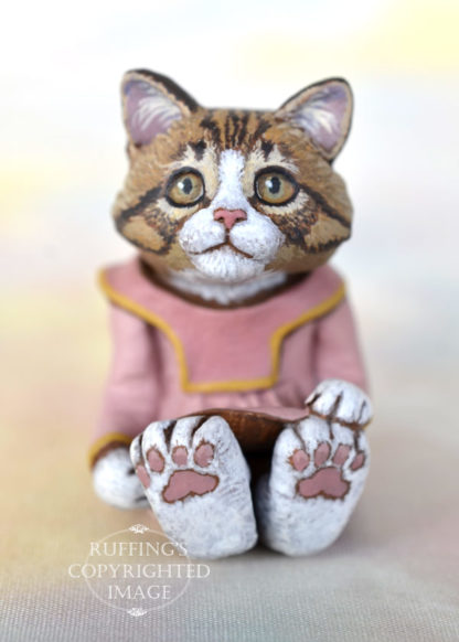Pinky, Norwegian Forest Cat kitten anthropomorphic art doll by Max Bailey