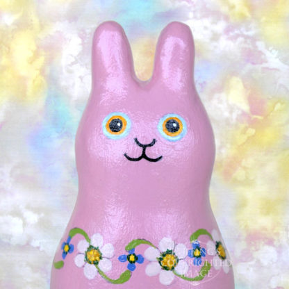 Maisie Maybunny, original, one-of-a-kind miniature handmade mauve-pink floral bunny rabbit art doll figurine by artist Elizabeth Ruffing