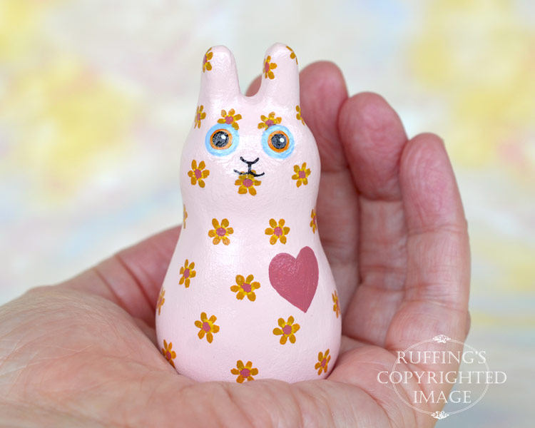 Buttons Bunnyton, original, one-of-a-kind miniature handmade peach-pink floral bunny rabbit art doll figurine by artist Elizabeth Ruffing