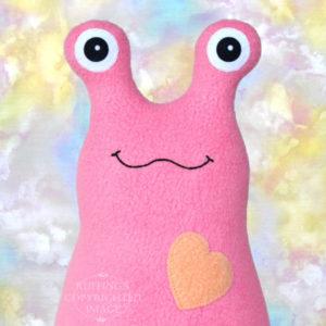 Handmade Medium Pink Hug Me Slug Stuffed Animal Plush Art Toy, Soft Orange Heart, 12 inch