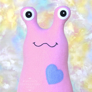 Handmade Lavender-pink Hug Me Slug Stuffed Animal Plush Art Toy, Periwinkle Blue Heart, 12 inch