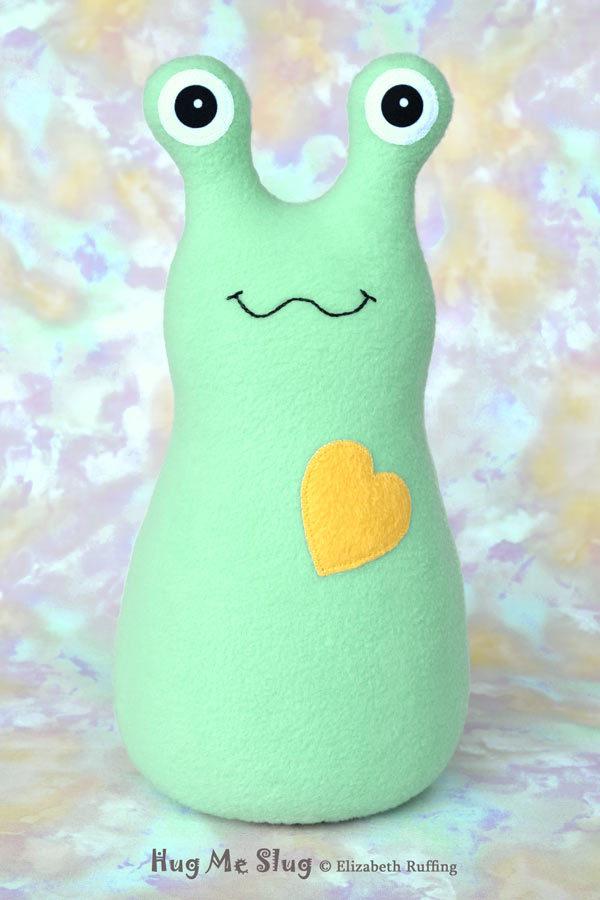 Handmade Aqua Hug Me Slug Stuffed Animal Plush Art Toy, Daffodil Yellow Heart, 12 inch