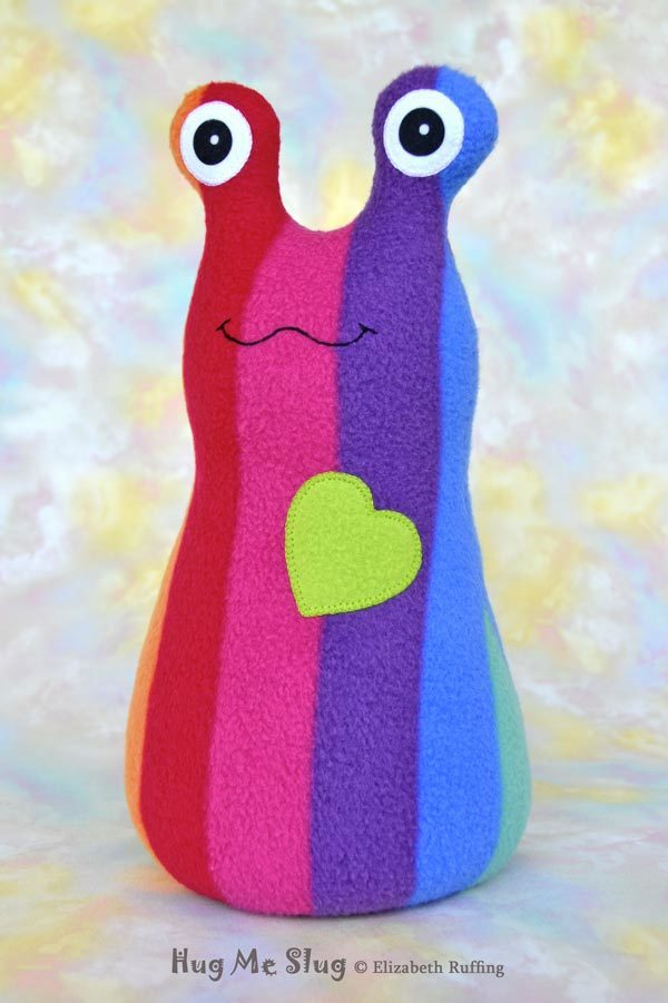 Handmade Rainbow Striped Hug Me Slug Stuffed Animal Plush Art Toy, Apple Green Heart