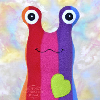 Handmade Rainbow Striped Hug Me Slug Stuffed Animal Plush Art Toy, Apple Green Heart