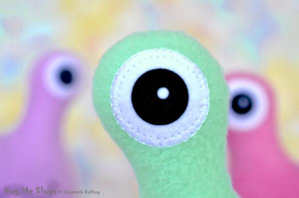 Handmade Aqua Hug Me Slug Stuffed Animal Plush Art Toy, Daffodil Yellow Heart, 12 inch, eye detail