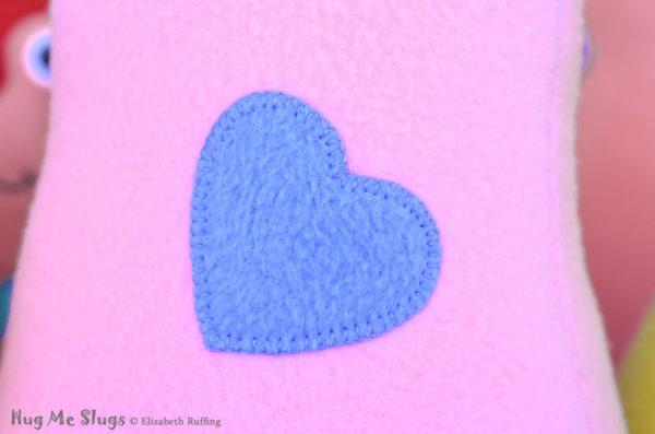 Handmade Lavender-pink Hug Me Slug Stuffed Animal Plush Art Toy, Periwinkle Blue Heart, 12 inch, heart detail