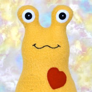 Hug Me Slug Stuffed Banana Slug Plush Toy Art, Golden Yellow Fleece, Red Heart, Personalized Tag, 7 inch