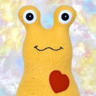 Hug Me Slug Stuffed Banana Slug Plush Toy Art, Golden Yellow Fleece, Red Heart, Personalized Tag, 7 inch