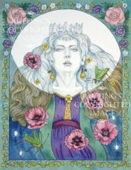 The Moon Sings a Lullaby Full of Poppies and Katydids watercolor fantasy art by Elizabeth Ruffing