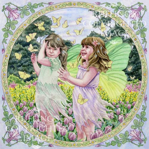 Fairies and Butterflies watercolor art by Elizabeth Ruffing