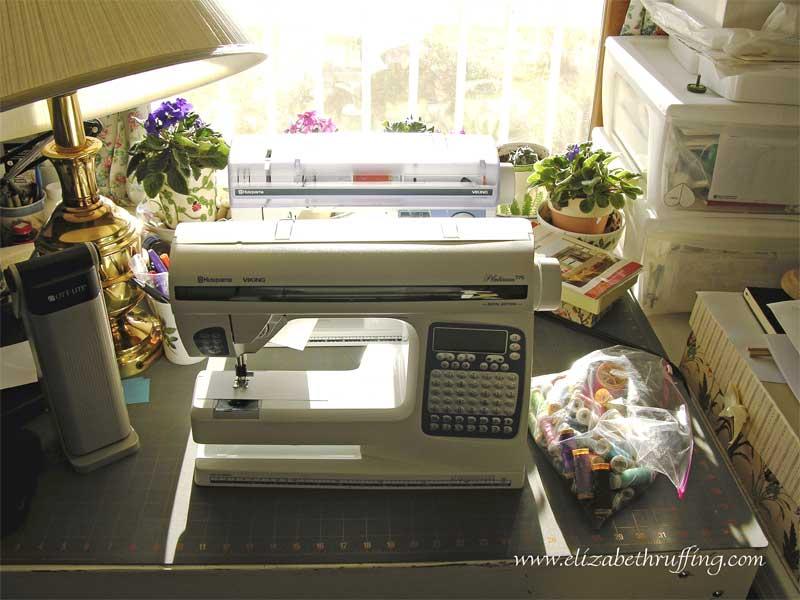 Husqvarna Viking Platinum 775 sewing machine on my worktable