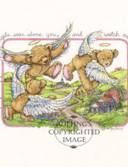 Flying Guardian Angel Teddy Bears art print by Max Bailey