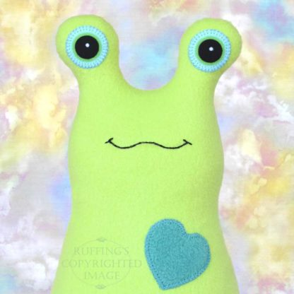 Hug Me Slug, Pear Green , Teal Heart, 12 inch, handmade stuffed animal banana slug art toys by artist Elizabeth Ruffing