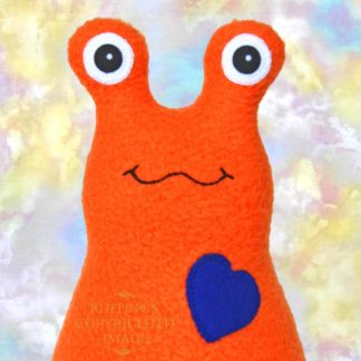 Handmade Orange Fleece Hug Me slug plush toy, royal blue heart, 7 inches, by artist Elizabeth Ruffing