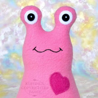 Handmade Medium Pink Fleece Hug Me slug plush toy, royal blue heart, 7 inches, by artist Elizabeth Ruffing