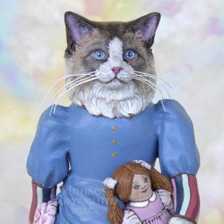 Maryanne the Ragdoll Cat, original cat art doll by artist Max Bailey