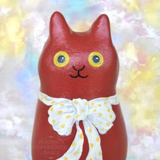 Nell, original one-of-a-kind cat art doll figurine, red cat with bow, handmade by artist Elizabeth Ruffing
