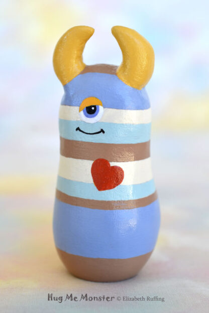 Hug Me Monster art doll figurine, tan and blue striped, Durwin handmade by artist Elizabeth Ruffing