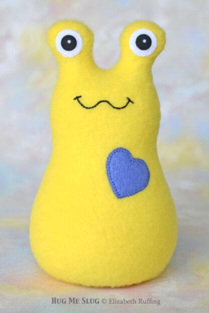 Pineapple Yellow Fleece Hug Me Slug Handmade Plush Art Toy by Artist Elizabeth Ruffing