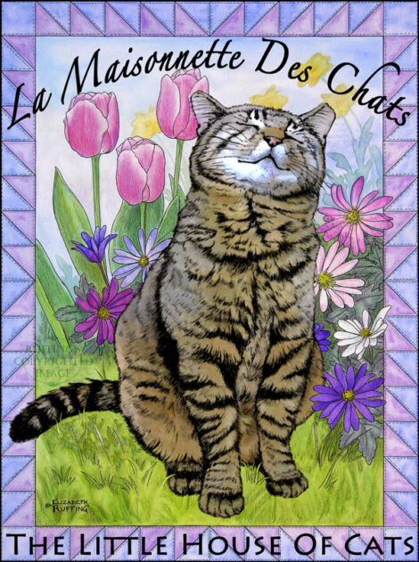 Smiling Freddie tabby cat Logo for La Maisonnette des Chats - The Little House of Cats